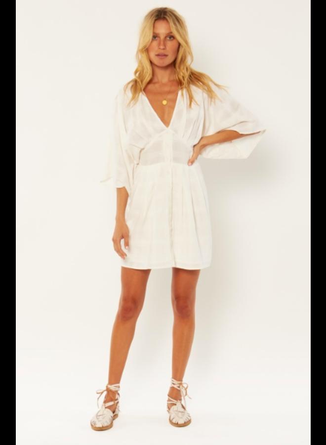 Sandalwood Woven Mini Dress - White