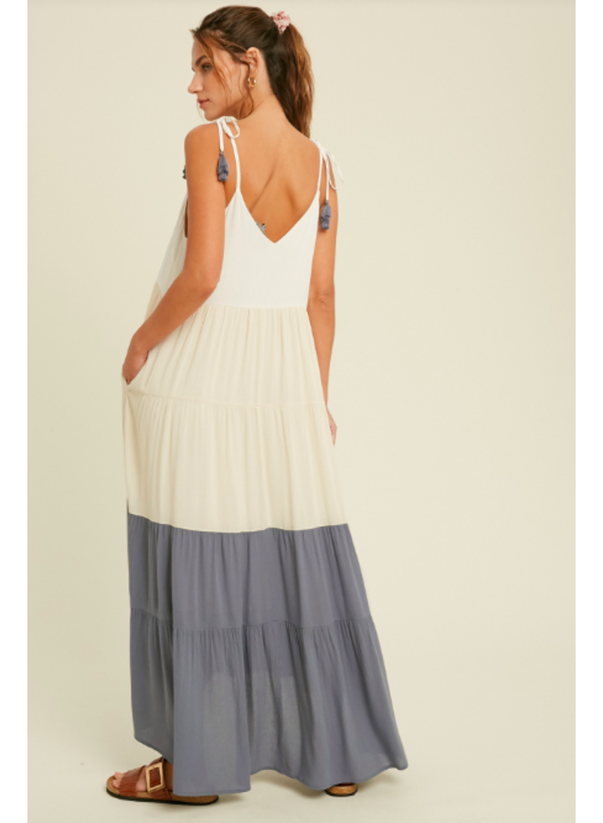 Tiered Colorblock Maxi Dress by Wishlist - Blue Combo