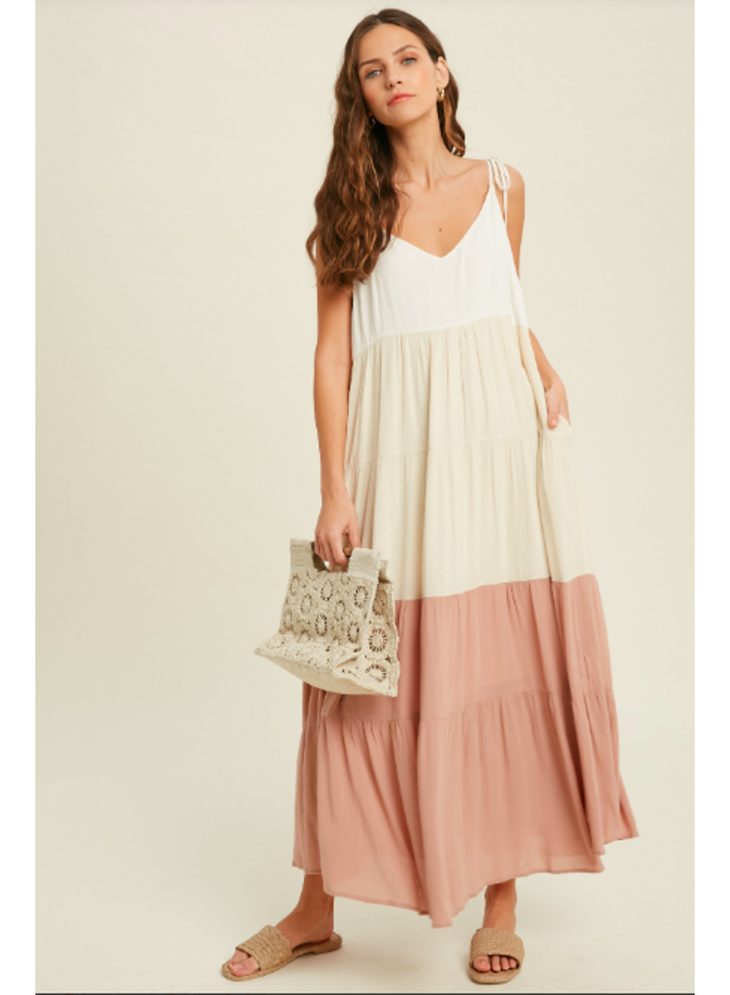 Tiered Colorblock Maxi Dress by Wishlist - Neutral Combo