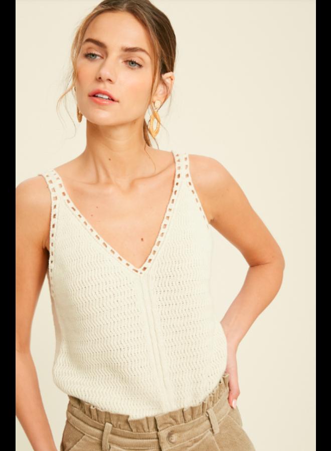 Sweater Tank Open Knit by Wishlist - Cream