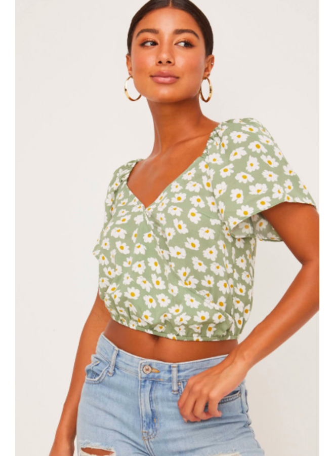 Green Crossfront Crop Top w/ White Flowers by Lush - Sage Green