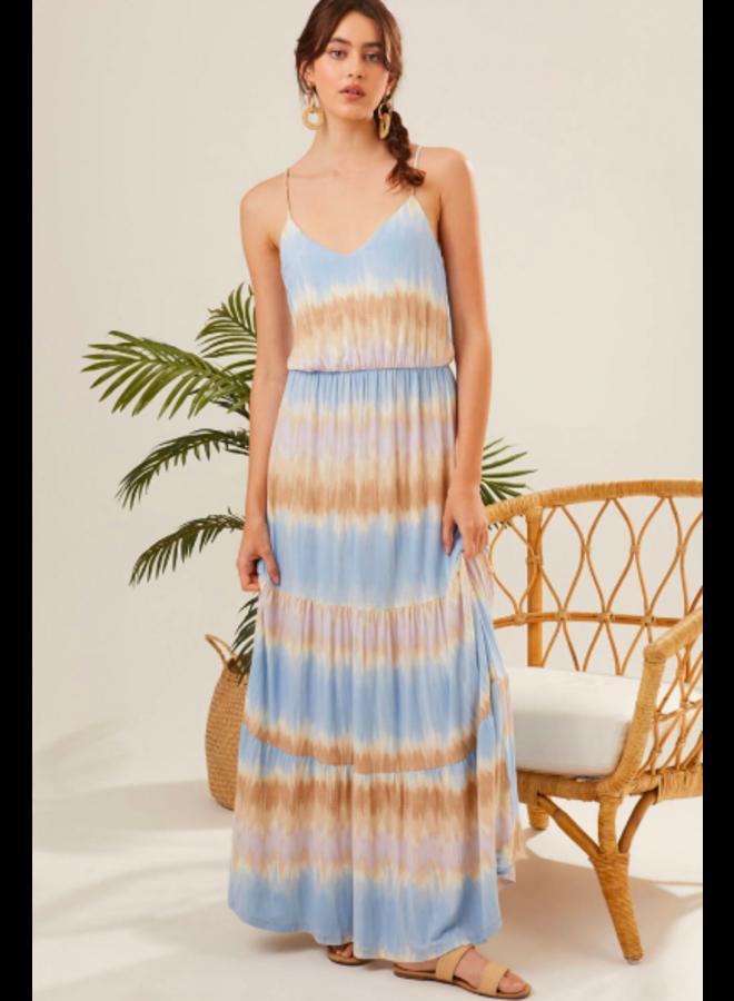 Light Blue & Tan Tie Dye Stripes Maxi Dress w/ Spaghetti Straps by Lush