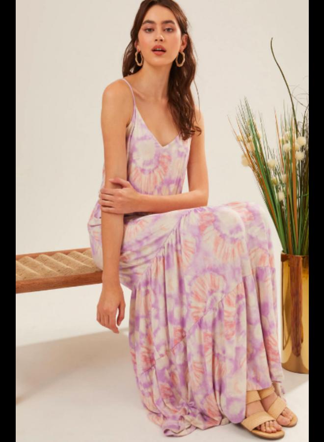 Lavender & Coral Tie Dye Maxi Dress w/ Spaghetti Straps by Lush