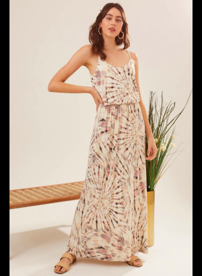Cream & Lavender Tie Dye Maxi Dress w/ Spaghetti Straps by Lush