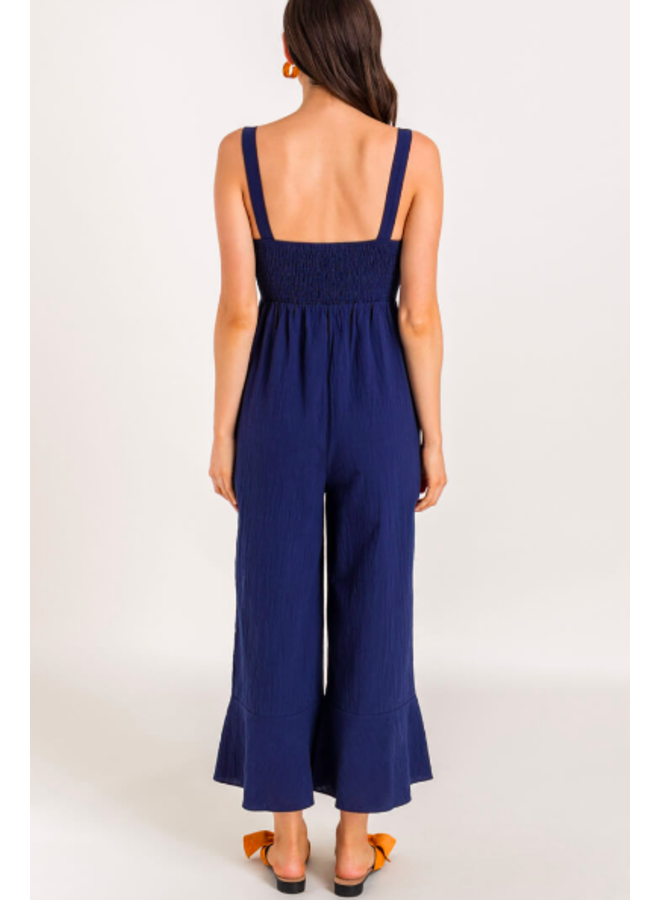 Navy Blue Jumpsuit w/ Ruffle Tie Front by Lush - Navy