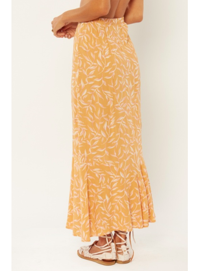 Reina Woven Maxi Skirt - Orange Floral