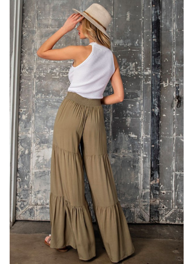 Wide Leg Tiered Pants w/ Tie Waist - Olive Green