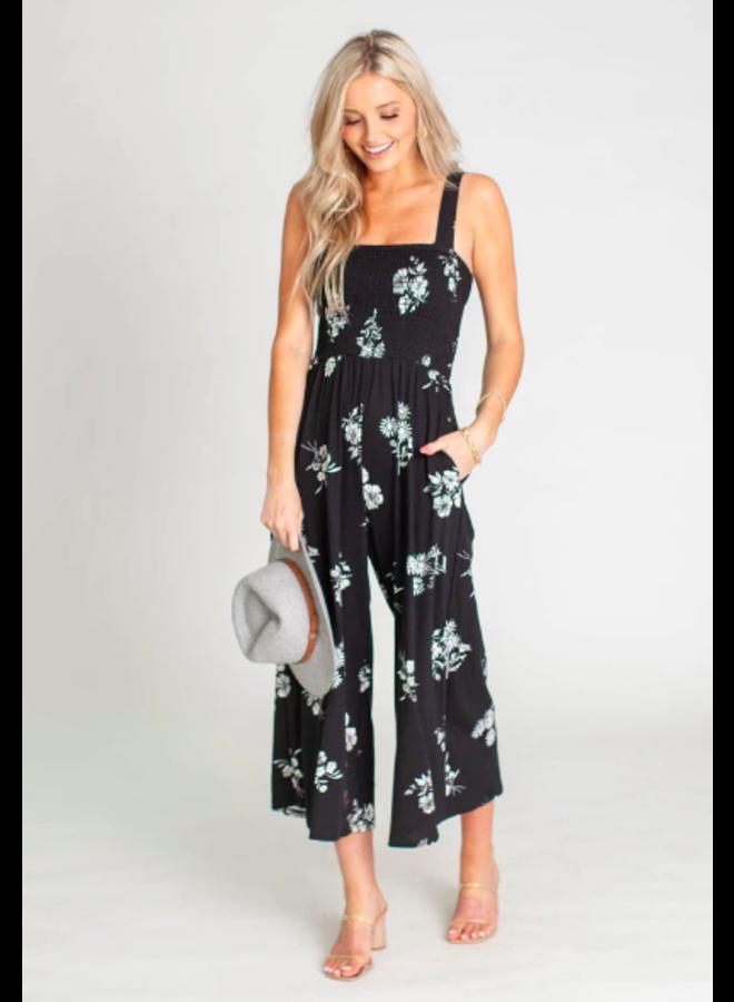 Black Floral Jumpsuit w/  Smocked Top - By Together