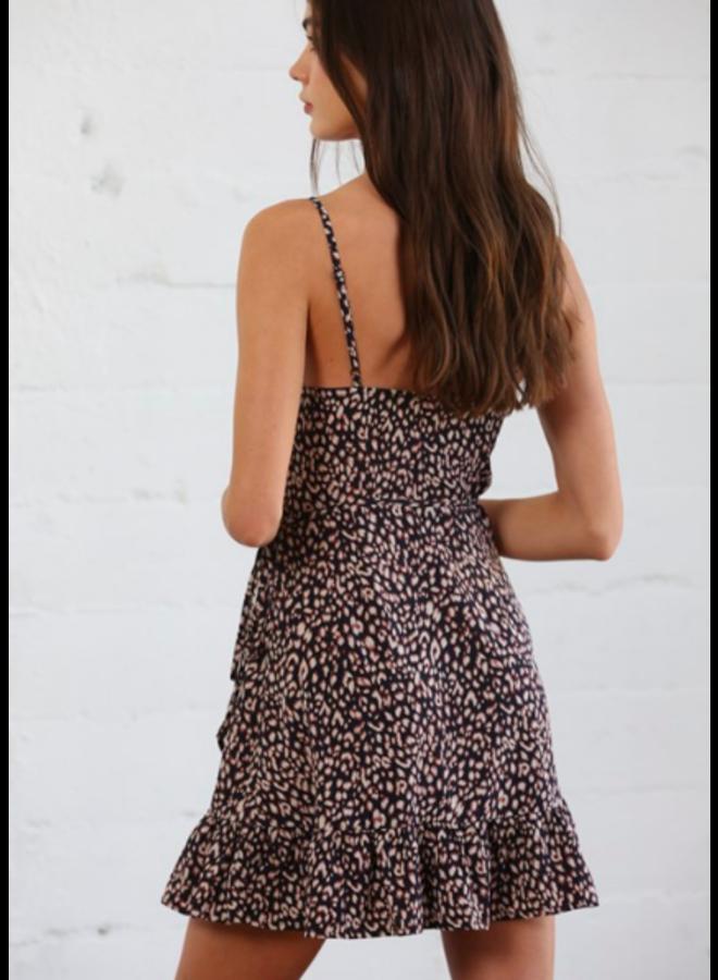Black Leopard Short Wrap Dress - By Together