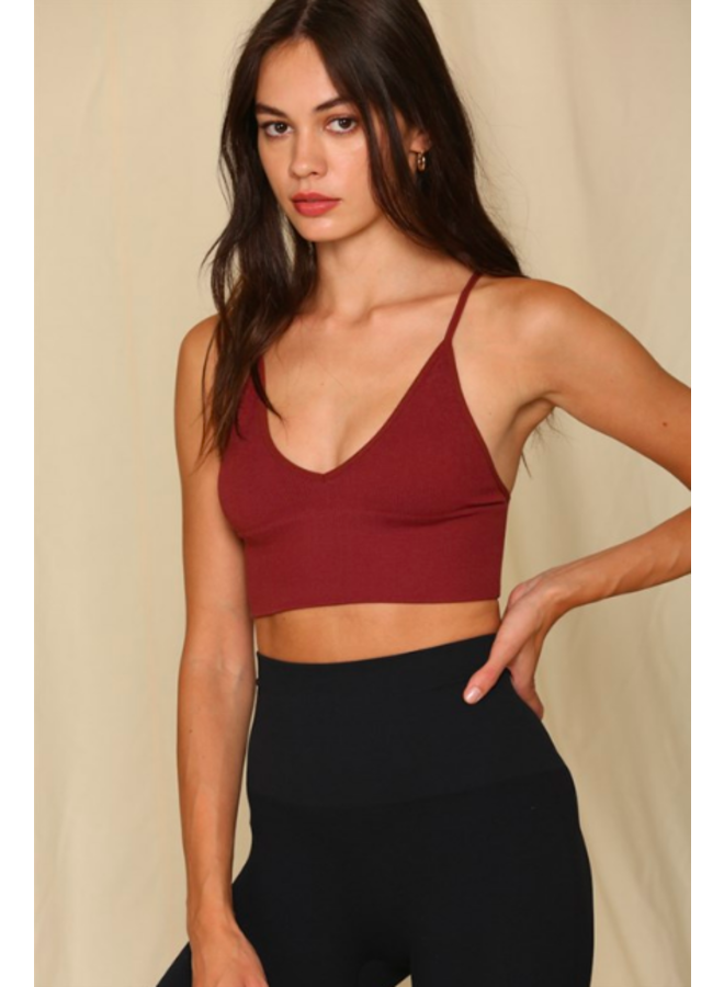 Dark Red Ribbed  Triangle Brami Crop Top - By Together
