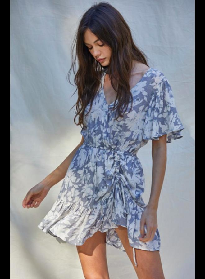 Grey Floral Short Wrap Dress - By Together
