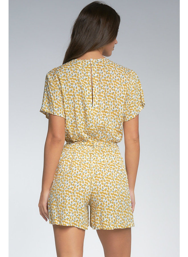 Button Up Tie Front Daisy Romper by Elan - Yellow Daisy