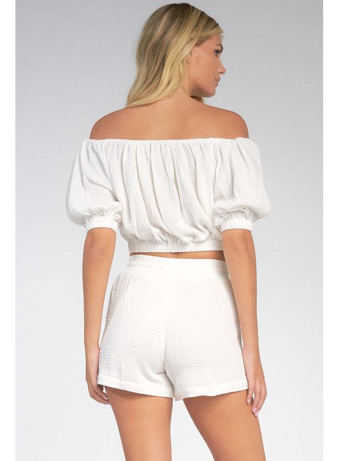 Gauze Shorts w/ Front Pockets by Elan - White