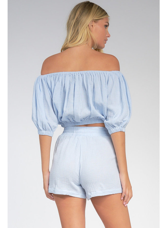 Gauze Shorts w/ Front Pockets by Elan - Light Blue