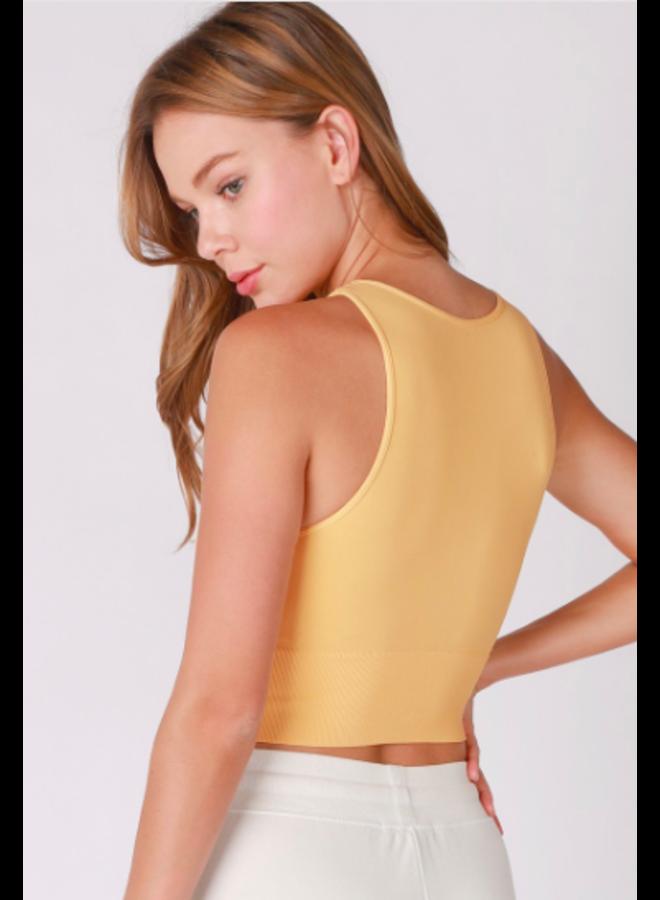 Seamless High Neck Crop Top by NikiBiki -  Marigold Yellow