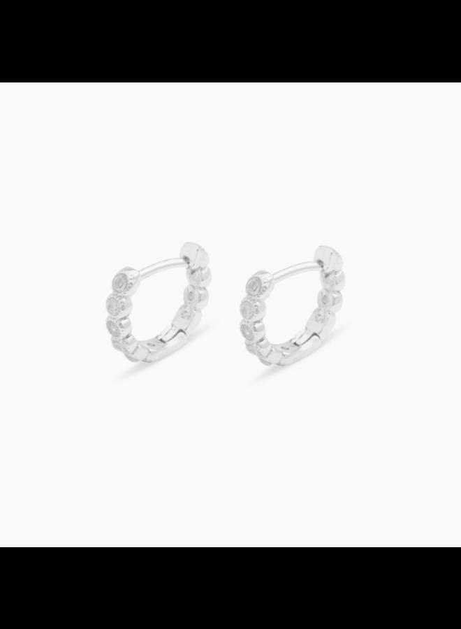 Madison Shimmer Huggies Earrings - Silver by Gorjana