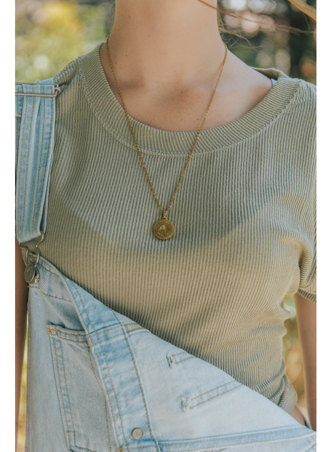 Ribbed Crew Neck Crop  Top by Ocean Drive - Soft Olive