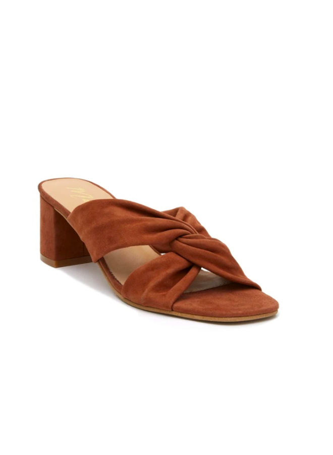 Cognac Suede Twist Front Heels - Fig