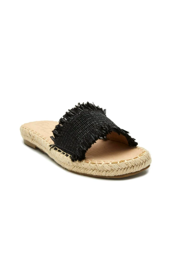 Black Braided Straw Slide Sandals w/ Raw Edge - Koko