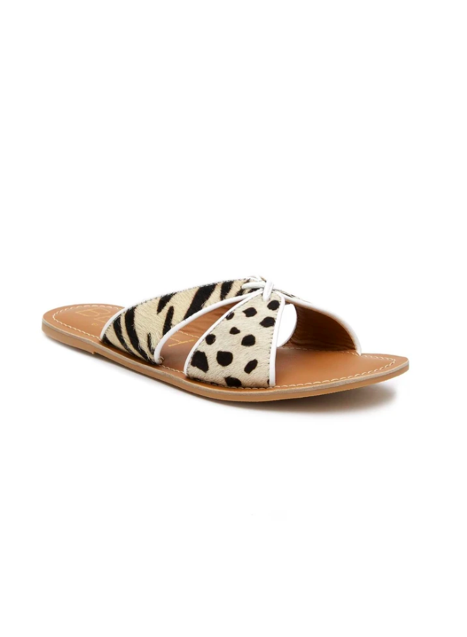 Tiger and Leopard Criss Cross Sandals w/ White Trim