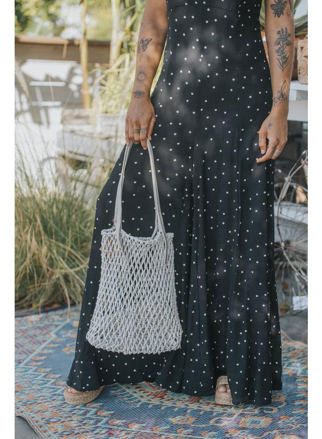Vida Macrame Tote Bag w/ Vegan Leather Handles - Ivory