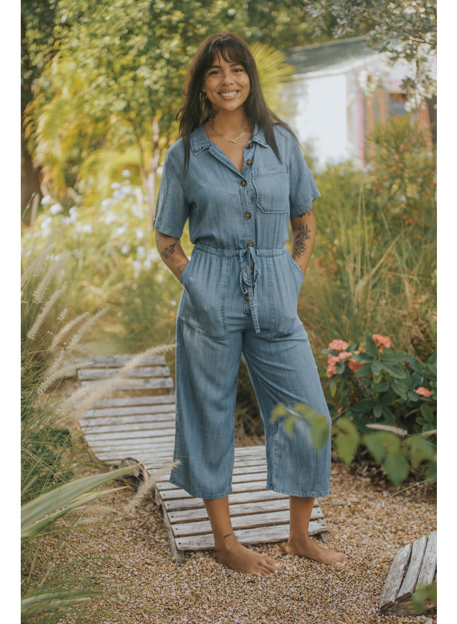 Denim Button Up Short Sleeve Jumpsuit by Velvet Heart