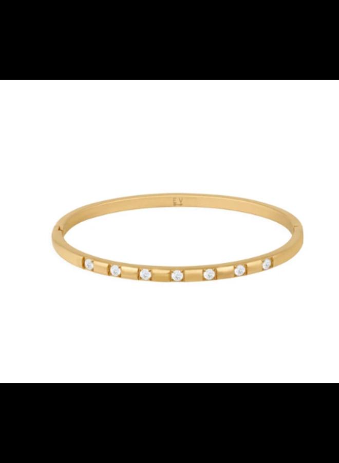 Row Gold & CZ Bangle Bracelet by Ellie Vail