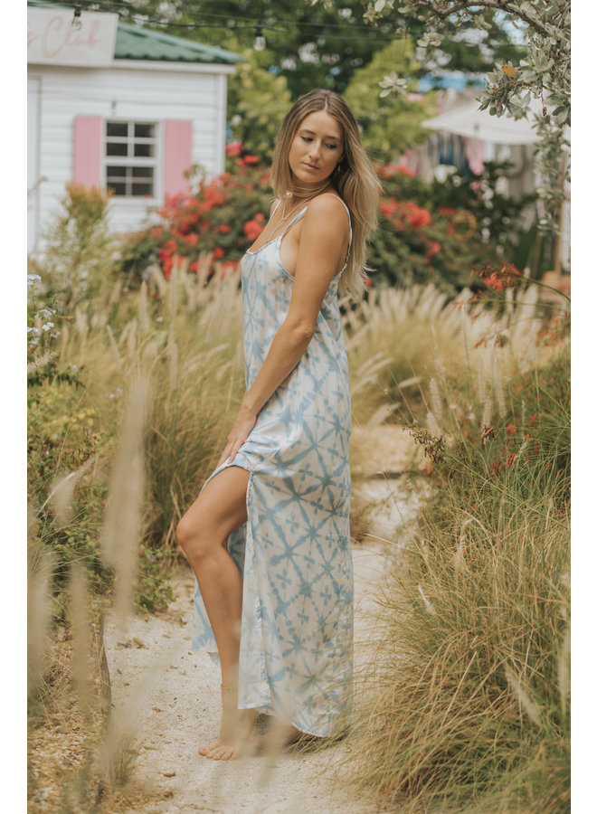 Ocean Breeze Long Ikat Tie Dye Maxi Dress by Skemo - Light Blue Ikat