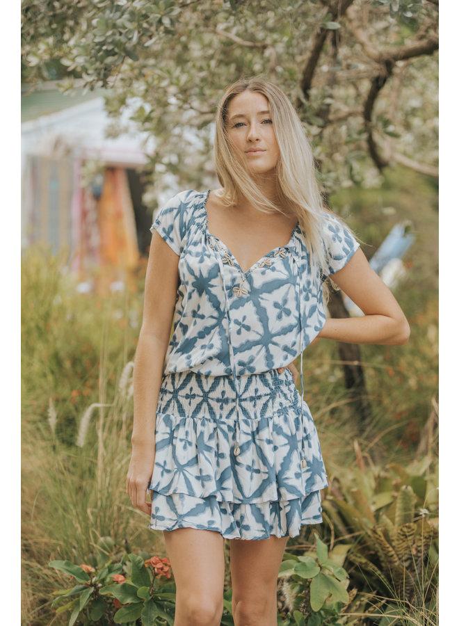 Ocean Breeze Gypsy Mini Dress w/ Cowrie Trim by Skemo - Indigo Blue Ikat