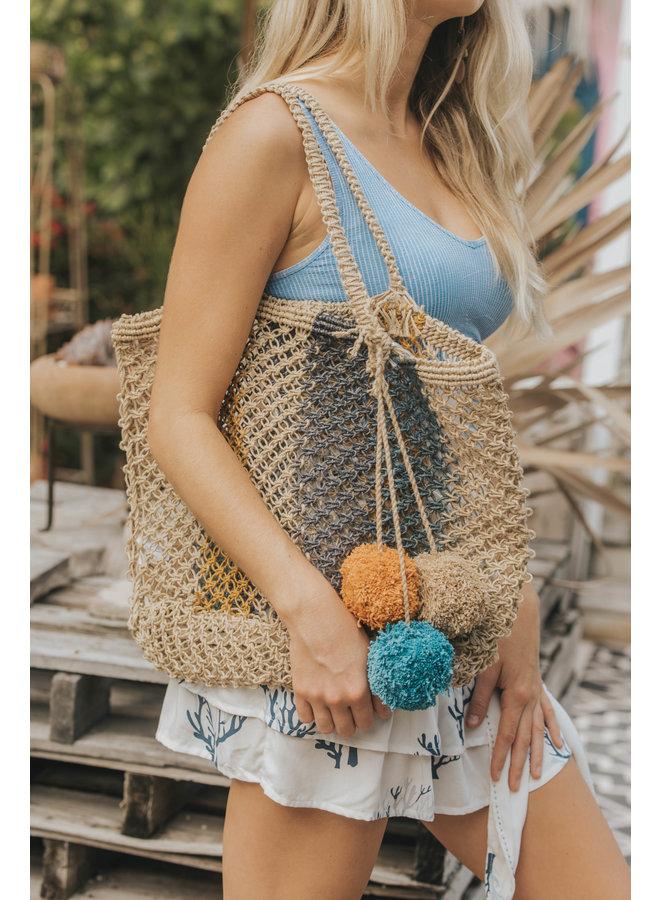 Ibiza Crochet Stripe Tote With Pom Pom