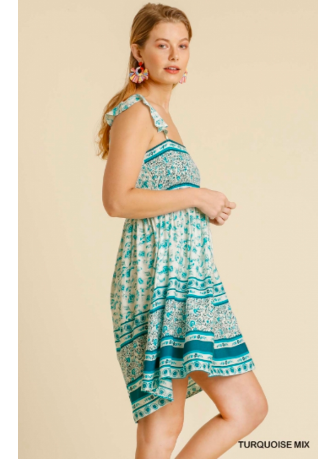 Turquoise Floral Smocked Short Dress w/ Ruffle  Straps