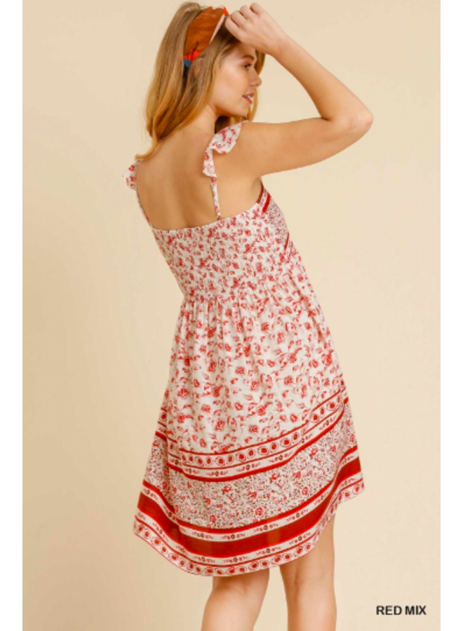 Red Floral Smocked Short Dress w/ Ruffle  Straps