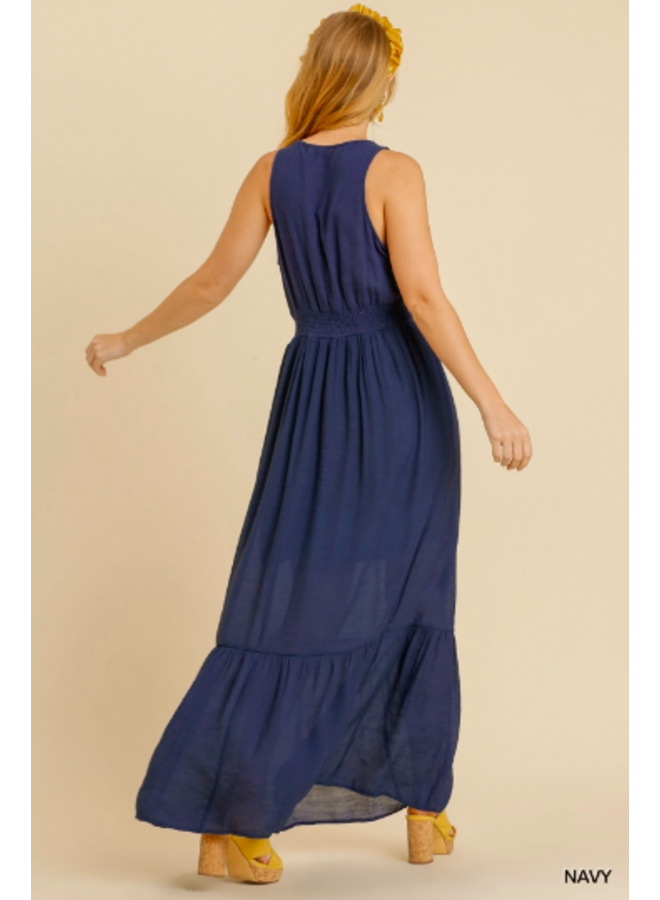 Navy Blue Sleeveless Maxi Dress w/ Floral Embroidery