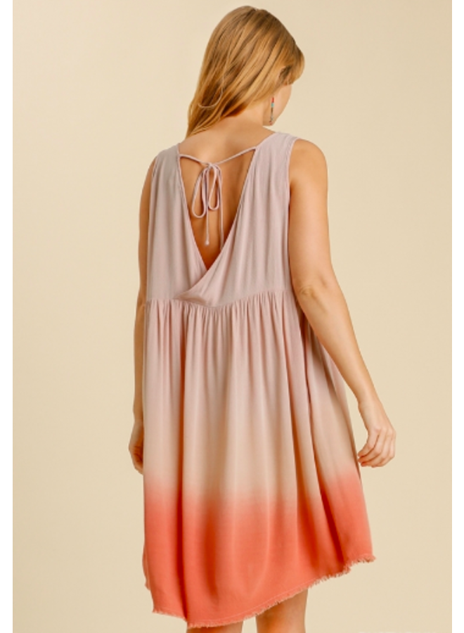 Dip Dye Tank Dress w/ Frayed Hem - Pink / Coral