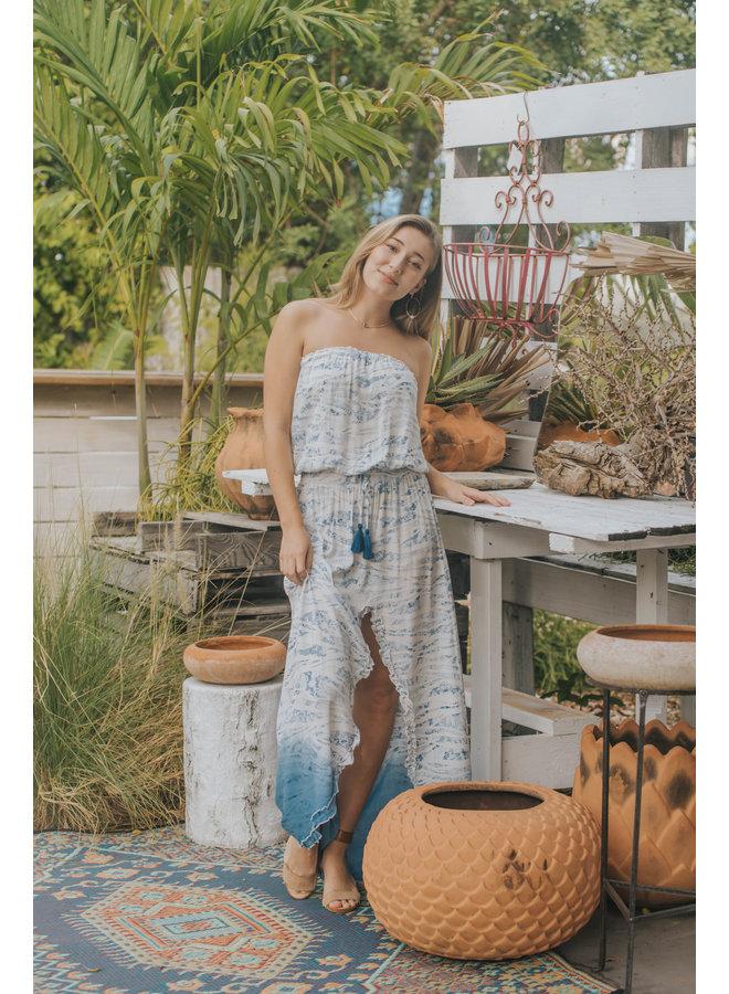 Blue Snakey Strapless Maxi Dress w/ Dip Dye Bottom and Slit by Surf Gypsy