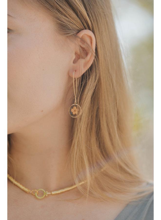 Dried Flower Resin Dangle Hoop Earrings w/ Gold Disc