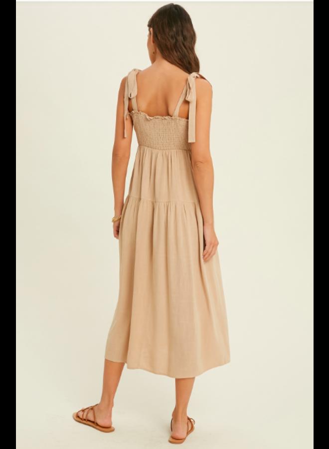Smocked Waist Midi Dress w/ Tie Straps by Wishlist - Taupe / Natural