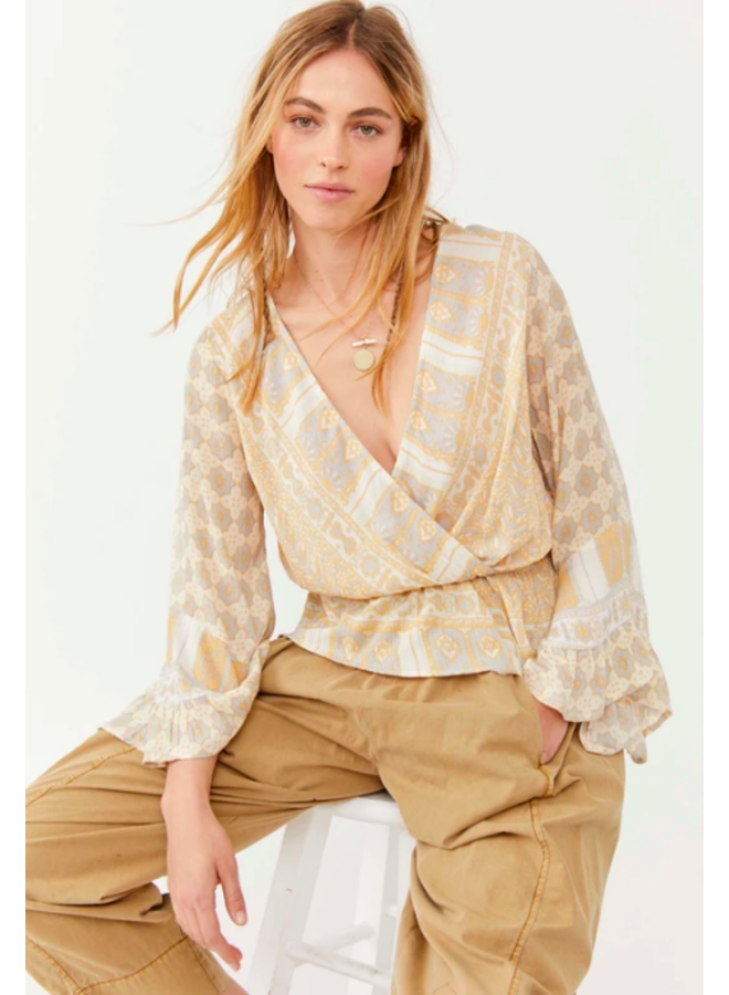 Rosalie Wrap Top - Free People - Taupe / Yellow