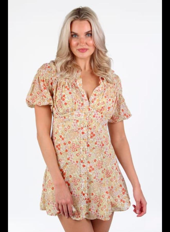 Bonnie Mini Dress by Free People - Tea Floral