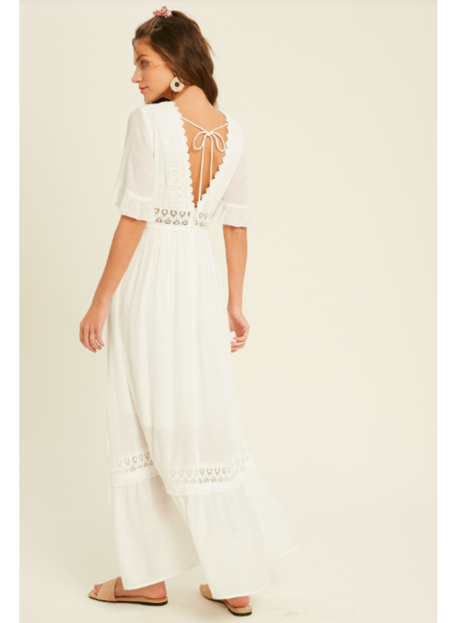 White V Neck Maxi Dress w/ Lace Trim & 3/4 Sleeves by Wishlist - White