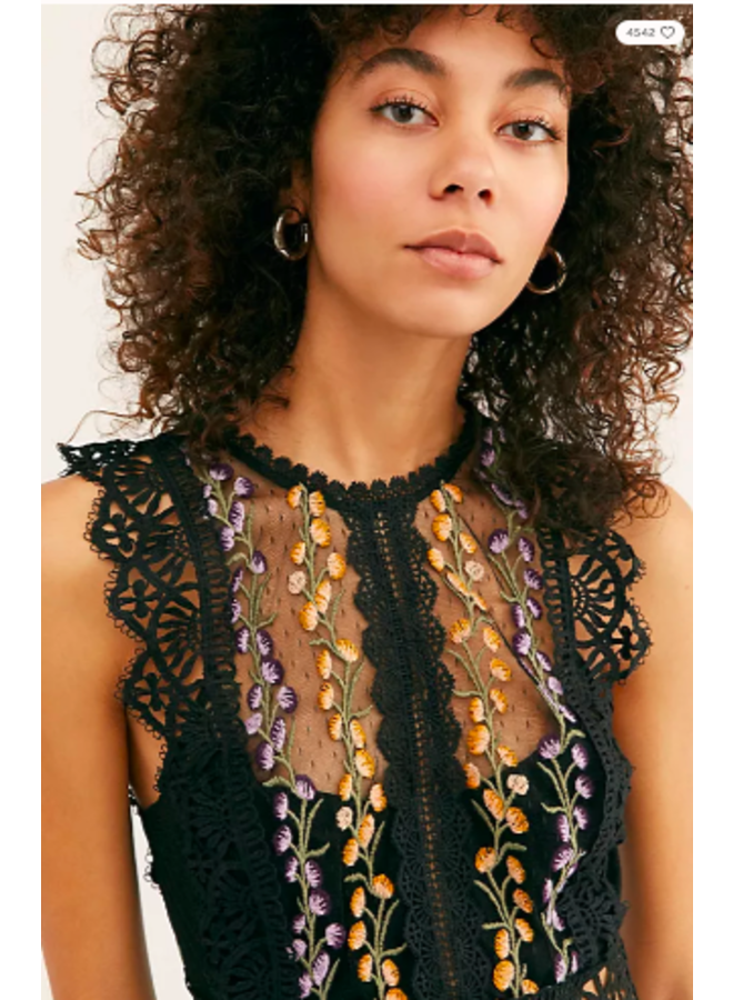 Black Lace Embroidered Bisoux CropTop by Free People
