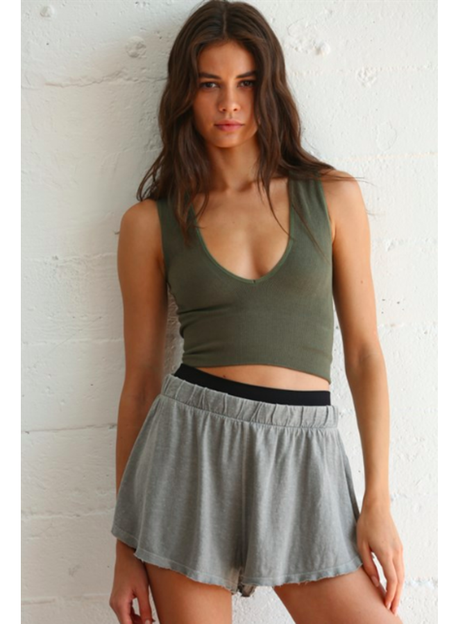 Finely Ribbed Plunge V Neck Brami Crop Top - Moss Green - By Together