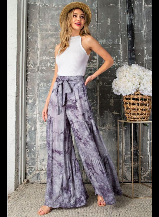 Wide Leg Tiered Pants w/ Tie Waist - Grey Tie Dye