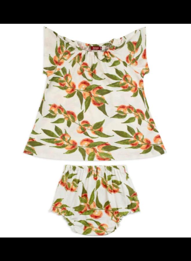Organic Cotton Dress & Bloomer Set - Peaches