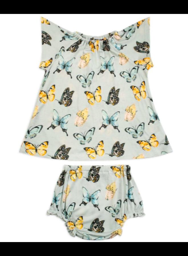 Organic Bamboo Dress & Bloomer Set by Milkbarn- Butterfly