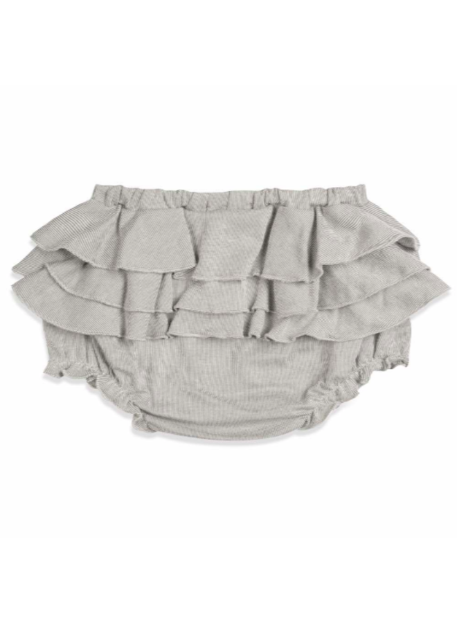 Organic Cotton Ruffle Bloomer - Grey Pinstripe