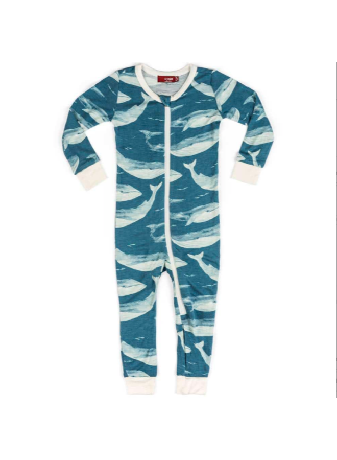 Bamboo Zipper Pajamas in Cotton Bag - Blue Whale