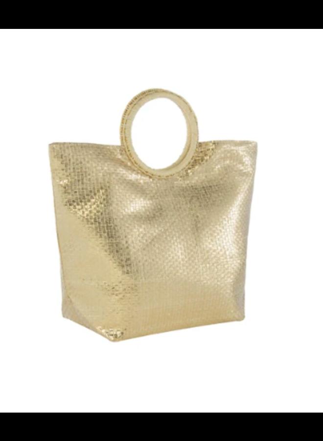 Adora Metallic Gold Tote w/ Circle Handle