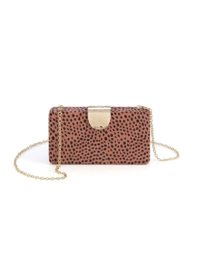 Rose Leopard Spotted Clutch - Hadley Miniaudiere