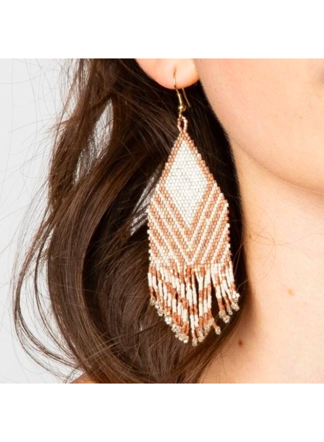 Rose Gold & Ivory Striped Earrings With Fringe